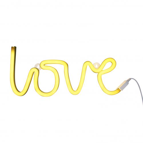 Neonlicht Love gelb