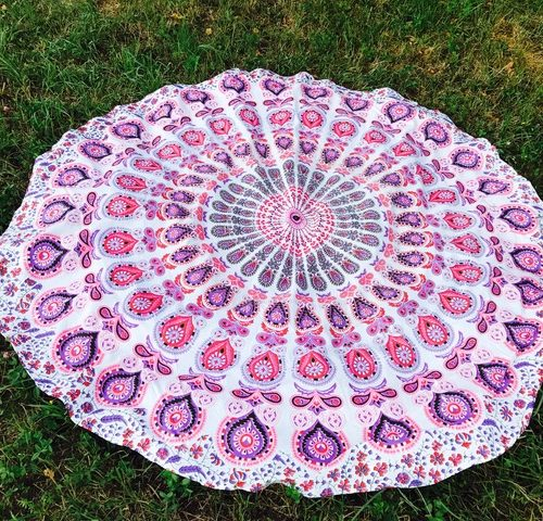 Runde Tischdecke violett/pink